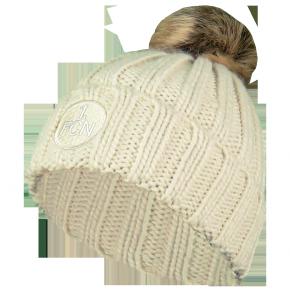 Mütze Bommel beige